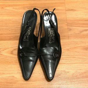 Salvatore Ferragamo Black Ginette Sling Back Shoes